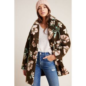 New Anthropologie Olivia Floral Teddy Sherpa Coat